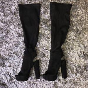 Shoes - Open toe thigh hi black boots